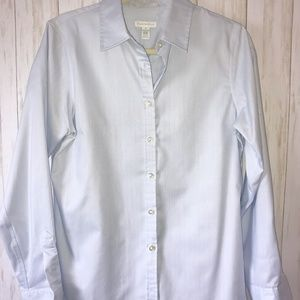 Charter Club Luxury Long Sleeve Blue Button Front